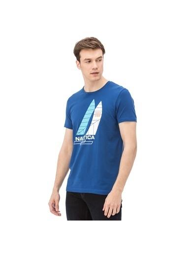 Nautica Bisiklet Yaka Baskılı Tişört Mavi